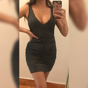 2B Bebe grey sparkly runched dress